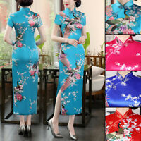 Satin Charm Chinese Specialty Women Dress Evening Dress Printed Cheongsam Qipao