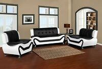 Wanda White/Black Bonded Leather Sofa Set-3PC, 2PC, Sofa, Loveseat, Chair Option