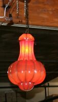 EUROPEAN  WROUGHT IRON CEILING LAMP& HAND BLOWN ART GLASS SHADE  ROMANIA