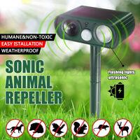 🔥 Ultrasonic Solar Power Outdoor Cat Dog Pest Animal Repeller PIR Sensor Scarer