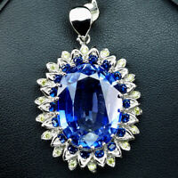 VIOLET BLUE TANZANITE PENDANT OVAL 40.30CT.SAPPHIRE 925 SILVER STERLING JEWELRY