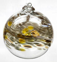 "Kitras BIRTHDAY WISH BALL APRIL Hand Blown Art Glass Witch Ball 6"" Ornament"
