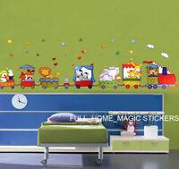 ANIMAL TRAIN Nursery Decor Wall Stickers Kids Room Decal Nursery Art Paper