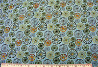 WESTERN WAGON WHEELS FABRIC~OPEN RANGE~1/2 YD~BLUE