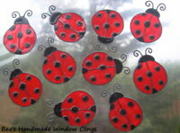 BEA'S LADY BUG STAINED GLASS EFFECT WINDOW TILE CLINGS