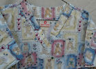 SCRUB TOP Nurse Doctor Uniform Shirt TEDDY BEAR Print V Neck sz M Cute!
