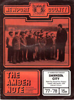 NEWPORT COUNTY v SWANSEA CITY 24 JAN 1978 PROGRAMME