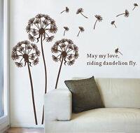 Flower Dandelions Wall Stickers Art Decal Transparent Vinyl Wallpaper Decor