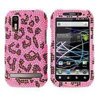 H Pink Leopard Bling Hard Case Cover Motorola Photon 4G