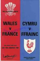 WALES v FRANCE 19 JAN 1980 RUGBY PROGRAMME WITH COA