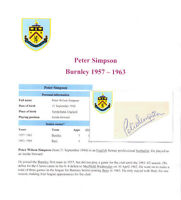 PETER SIMPSON BURNLEY 1957-1963 RARE ORIGINAL HAND SIGNED CARD. EXCELLENT