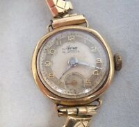 Ladies Vintage 9ct Gold Avia Watch On Expandable Strap c1925