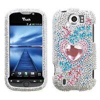 Star Track Crystal BLING Hard Case Phone Cover for T-Mobile HTC myTouch 4G Slide