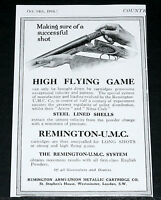 1916 OLD WWI MAGAZINE PRINT AD, REMINGTON-U.M.C, ARROW & NITRO CLUB GUN SHELLS!