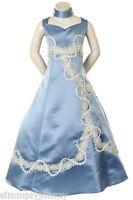 New Girl Pageant evening ball Wedding Formal Dress Blue size 4 6 8 10 12 14 16
