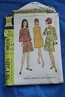 Vintage McCall's Pattern #8624, Misses Dress, 3 Versions, 1966, Size 14