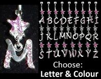 Initial Letter - Star Dangle Belly Bar - Pink or Clear Crystal - Choose Letter !
