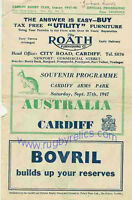 AUSTRALIA 1947 RUGBY TOUR PROGRAMME v CARDIFF 27th September at Cardiff