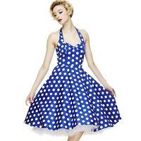 HELL BUNNY MERIAM ROCKABILLY BLUE POLKA DOT PROM PIN UP 50'S SWING DRESS 8-16