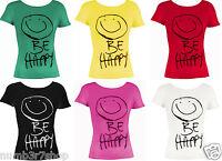 New Ladies Short Sleeve Be Happy Tshirt Print Womens Top Tee Size 8-14