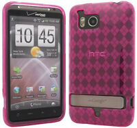 NEW PINK PLAID TPU CANDY SKIN CASE COVER FOR VERIZON HTC THUNDERBOLT 4G ADR6400