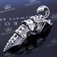 1PC Silvery Armor Knuckle Joint Full Scorpion Snake Punk Gothic Finger Ring