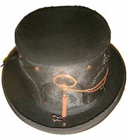 Steampunk/victorian Black top hat with black brocade sleeve with key