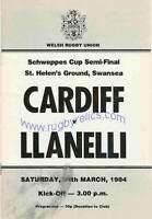 CARDIFF v LLANELLI 1984 WRU SCHWEPPES CUP SEMI-FINAL RUGBY PROGRAMME