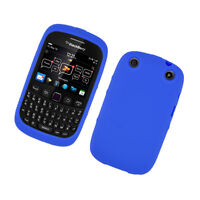 BlackBerry Curve 9310 9320 Rubber SILICONE Skin Gel Case Phone Cover Dark Blue