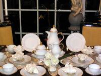 Kaffeeservice Rosenthal Sanssouci Weiß Poliergoldrand top breite Tasse 12 Pers.