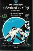 SCOTLAND v FIJI 1982 RUGBY PROGRAMME 25 Sep at MURRAYFIELD