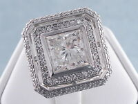 4.44 CARATS CT TW PRINCESS CUT DIAMOND ENGAGEMENT RING H SI3