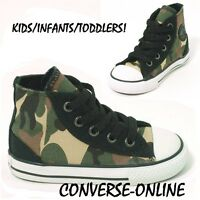 KIDS Toddlers Boy Girl CONVERSE All Star CAMO HI TOP Trainers Boots 24 SIZE UK 8