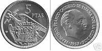 5 Pesetas FRANCO 1957 estrella 71 S/C de cartucho