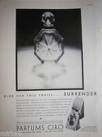 1932 Vintage Parfums CIRO Surrender Perfume Bottle Give Her Thrill Ad