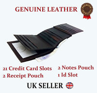 Mens Designer Wallet J Wilson Genuine Leather Gents purse Card Coin brown black