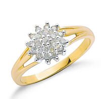 9k Yellow Gold 0.25ctw Diamond Cluster Ring - British Made - Hallmarked Size K-S