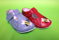 """Start-Rite """"Bumble"""" Red & Blue Leather T-Bar First Shoes"""