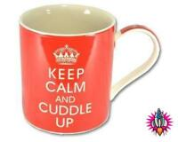 KEEP CALM AND CUDDLE UP RED VINTAGE COFFEE MUG CUP NEW IN GIFT BOX