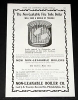1903 OLD MAGAZINE PRINT AD, NEW NON-LEAKABLE FIRE TUBE BOILER, FOR STEAM CARS!