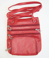 Red Passport Cowhide Genuine Leather Pouch Travel Shoulder Bag Sling Zip Nice