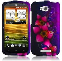 For AT&T HTC ONE VX Rubberized HARD Case Snap On Phone Cover Mystical Flowers