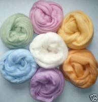 "1/2 oz ea 7 colors Easter lights Wool roving 25""/14 gr spin felt needle wet soap"