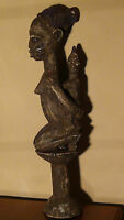 ANTIQUE 18C TRIBAL WOOD HAND CARVED STATUE YOURBA,NIGERIA,A SHANGO STAFF,WOMAN