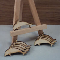Wood dolphin craft shape birch ply, wooden blanks, plaque + card making x10 (sm)