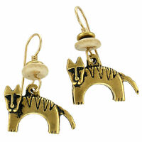 NEW! Laurel Burch DOG Antiqued Gold Over Pewter Cast 3D Retired Earrings