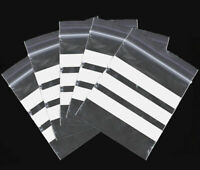 """300 x 5"""" x 7.5""""   **WHITE PANEL**     Zip Resealable Plastic Grip Seal Bags"""