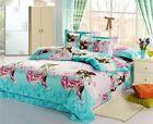 blue red boy girl Cartoon queen size Cotton Bed Duvet Doona Quilt Cover set 4pcs