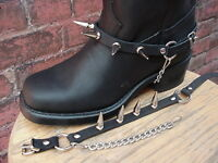 "BIKER BOOTS BOOT CHAINS BLACK TOPGRAIN COWHIDE LEATHER WITH BIG 1"" SPIKES"