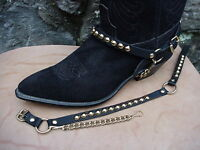 WESTERN BOOTS BOOT CHAINS BLACK TOPGRAIN COWHIDE LEATHER WITH GOLD STUDS